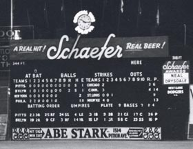 The scoreboard at Ebbets Field provides details of the Brooklyn Dodgers' final home game.