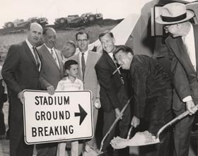 "Among the dignitaries at the Sept. 17, 1959 Dodger Stadium groundbreaking ceremonies was <span class='nobr'>(l-r)</span> City Councilman Gordon Hahn; Jack Yount, in charge of construction for Vinnell Constructors; County Supervisor Kenneth Hahn and his son Jimmy (who was honorary batboy and  years later elected as Mayor of L.A.); C. Don ""Arch"" Field of the L.A. City Department of Public Works; Walter O'Malley; and Al Vinnell of Vinnell Constructors."
