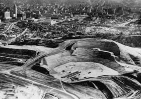 The construction area included making connections to the local freeway system already in place.