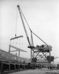 A special crane for the stadium was assembled by Vinnell Constructors.