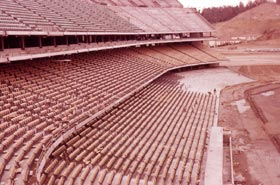Heavy rains in Southern California in February 1962 made the construction project a challenge as top soil on the playing field washed away, causing delays and additional costs.