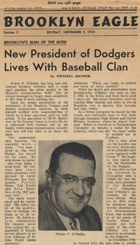 The <em>Brooklyn Eagle</em> profiled Dodger President Walter O'Malley on Nov. 5, 1950.