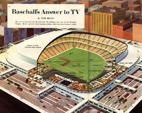 <em>Colliers Magazine</em> on Sept. 27, 1952 issue illustrated one of the Dodgers&#8217; new ballpark proposals for Brooklyn.