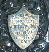 "The ""Spoon Man"" Award at the University of Pennsylvania in 1926 reads ""Honor Award Presented To Walter Francis O'Malley, Spoon Man, By The Class Of 1926."""