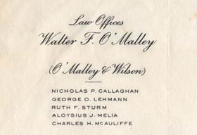 Stationery from Walter O'Malley's law offices, with partner Ray Wilson, at 60 E. 42nd Street in New York City.