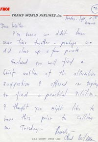 Note from Los Angeles negotiator Chad McClellan to Walter O'Malley on September 9, 1957.