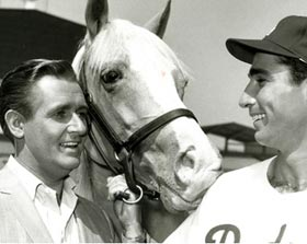 "Actor Alan Young, ""Mr. Ed"" and Dodger star pitcher Sandy Koufax were part of the 1963 episode ""Leo Durocher Meets Mr. Ed"" filmed at Dodger Stadium."