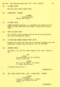 "A page from the original 1963 script of the television series ""Mr. Ed"" filmed at Dodger Stadium, starring several Dodgers."