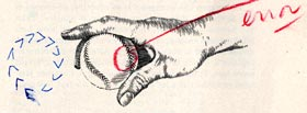 An illustration by artist Anthony Ravielli of the two seam fastball grip of Sal Maglie for a <em>Sports Illustrated</em> article in March, 1958. It is here that Dodger President Walter O&#8217;Malley sees a mistake in the illustration of the baseball and writes &#8220;error.&#8221;