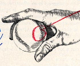 A close-up version of the illustration mistake spotted by Walter O'Malley that appeared in <em>Sports Illustrated</em>. Dodger President Walter O'Malley's sharp eye catches that the baseball stitches in the illustration are running toward each other and not in the same direction.