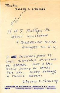 A written note later sent by telegram from Walter O'Malley to <em>Sports Illustrated</em> publisher H.H.S. Phillips informing him of the mistaken illustration of a baseball.