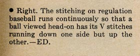 "The response by <em>Sports Illustrated</em> in their ""Letters to the Editor"" section stating that Walter O'Malley had correctly spotted a mistake in the illustration of a baseball and how the baseball stitches should actually appear."