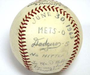 "Dodger left-hander Sandy Koufax enjoyed phenomenal success in the early 1960s, including pitching three no-hitters and one perfect game. After each of those special performances, Koufax autographed one of the game-used baseballs to Walter O'Malley. Here is a 1962 baseball from June 30, as Koufax no-hit the New York Mets, 5-0, at Dodger Stadium. He writes on the baseball, ""To Mr. O'Malley, I am very glad it happened in your new stadium."""
