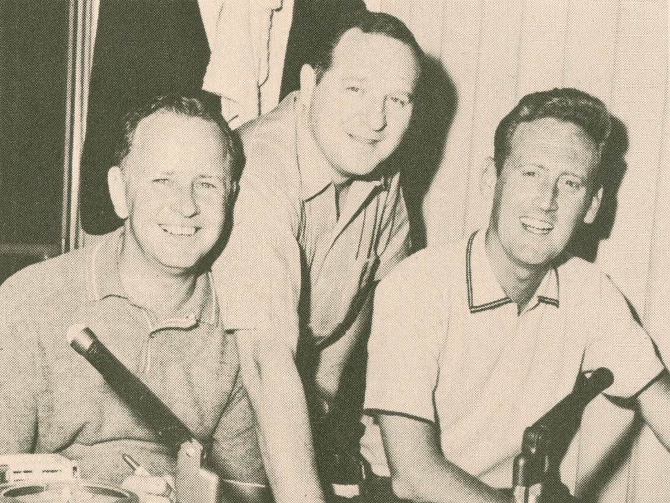 Jerry Doggett (left) and Vin Scully (right) with Dodger Statistician, Allan Roth.