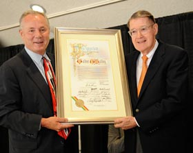 "Los Angeles City Councilmember, Fourth District, Tom LaBonge (left) presents a City Council resolution, making July 9, 2008 ""Walter O'Malley Day"" in the City of Los Angeles. The proclamation, received by Peter O'Malley, was signed by Mayor of Los Angeles Antonio Villaraigosa and all City Council members.<br /><br />Photo Courtesy of Jon SooHoo, Los Angeles Dodgers"