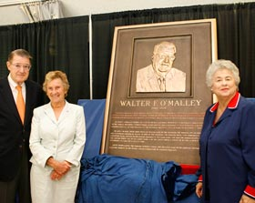 "Peter O'Malley, former President, Los Angeles Dodgers, 1970-98, and his sister Terry O'Malley Seidler stand to the left of the newly-unveiled bronze plaque dedicated to their father Walter F. O'Malley in the Los Angeles Memorial Coliseum ""Court of Honor"" on July 9, 2008. Rosalind Wyman (right) is the individual most responsible for encouraging the Dodgers to relocate to Los Angeles during her successful tenure as Los Angeles City Councilmember from 1953-65.<br /><br />Photo Courtesy of Jon SooHoo, Los Angeles Dodgers"