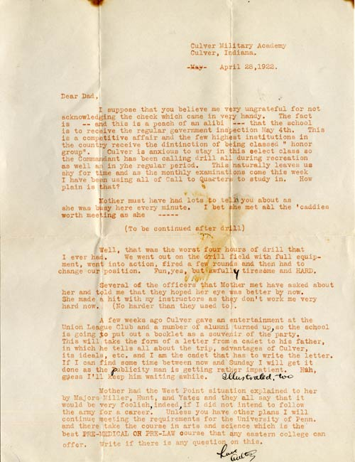 Letter from Walter O'Malley to Edwin J. O'Malley (Walter's Father)