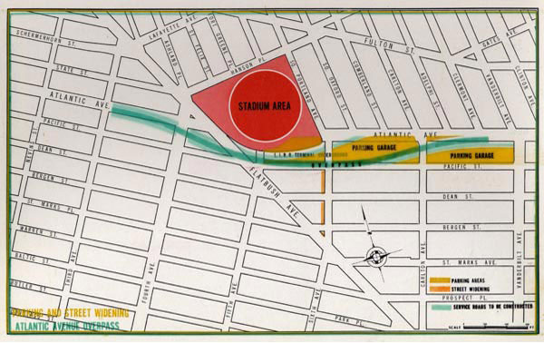 Two potential sites had been considered for the development of a new stadium at the intersection of Atlantic and Flatbush Avenues in Brooklyn. This shows the site preferred by Dodger President Walter O'Malley, which was conducted by Madigan-Hyland, the consulting engineers for the Brooklyn Sports Center Authority, which issued a report comparing the locations. Brooklyn Borough President John Cashmore made a study using the engineering firm of Clarke & Rapuano and the site would be located on the west of Flatbush Avenue, while the Brooklyn Sports Center Authority proposed location was east of Atlantic and Flatbush, on the site of the Long Island Rail Road Terminal and the two adjoining blocks occupied by the Fort Greene Wholesale Meat Market. Either location would have been suitable to O'Malley who was prepared to build and privately finance the stadium for the Dodgers, but needed assistance in assembling the land from New York City officials.