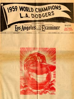 Cartoonist Karl Hubenthal of the <em>Los Angeles Examiner</em> captures the moment as his depiction has a Los Angeles Dodger cap on top of the world symbolizing the Dodgers&#8217; 1959 World Championship.