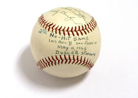 "On May 11, 1963, Sandy Koufax pitched an 8-0 no-hitter against the San Francisco Giants at Dodger Stadium for his second career no-no. He inscribed the ball, ""To Walter O'Malley, Hope we can make this an annual affair. Best wishes, Sandy Koufax."" During the season, Koufax went 25-5 to win the 1963 N.L. MVP Award and Cy Young Award and then added two World Series wins and was named Series MVP, as well."
