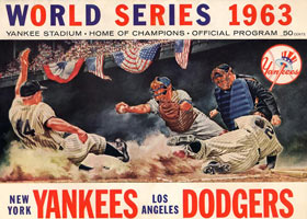 Colorful artwork was featured on the cover of the New York Yankees' 1963 World Series program. The Yankees won the American League Pennant by 10 ½ games over Chicago to meet the Dodgers in the World Series for the eighth time.