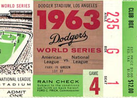 A 1963 World Series Game 4 ticket for the game played at Dodger Stadium on October 6 before 55,912 fans. The Dodgers became World Champions as they won the final game against the New York Yankees, 2-1 to sweep the Series.