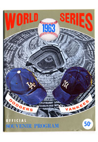 For 50 cents, a World Series program from 1963 featured the familiar caps of the Dodgers and the New York Yankees, along with Dodger Stadium. The two teams had met on seven previous occasions, with the Dodgers winning in 1955.