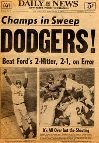 The <em>New York Daily News</em> headline says it all as the Dodgers sweep the New York Yankees behind the heroics of Sandy Koufax in Game 4, 2-1 at Dodger Stadium.