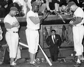 Popular Dodgers Roy Campanella, Jackie Robinson and Duke Snider sign autographs for their many fans during Brooklyn's Goodwill Tour to Japan in October-November, 1956.