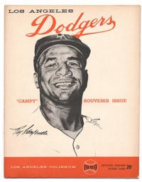 "The souvenir scorecard from ""Roy Campanella Night"" at the Los Angeles Memorial Coliseum features a drawing of ""Campy"" in his ""LA"" cap by renowned artist Nicholas Volpe on the cover."