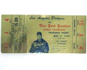 "A ""Golden Circle"" ticket stub from ""Roy Campanella Night"" at the Los Angeles Memorial Coliseum on May 7, 1959. The Dodgers flew back home following an afternoon game in San Francisco to host the New York Yankees in an exhibition contest."