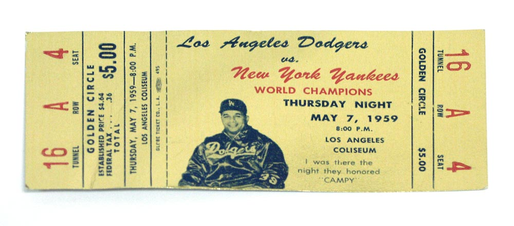 "This gold ticket is for the May 7, 1959 tribute game to Roy Campanella to honor the three-time National League Most Valuable Player.  Campanella, one of the Dodgers' greatest ever players, was a regular visitor to Dodgertown after his career ended.  He had a regular place at Historic Dodgertown where he would sit and talk to anyone after a day of workouts.  And at this location, there is still a sign, ""Campy's Bullpen."""