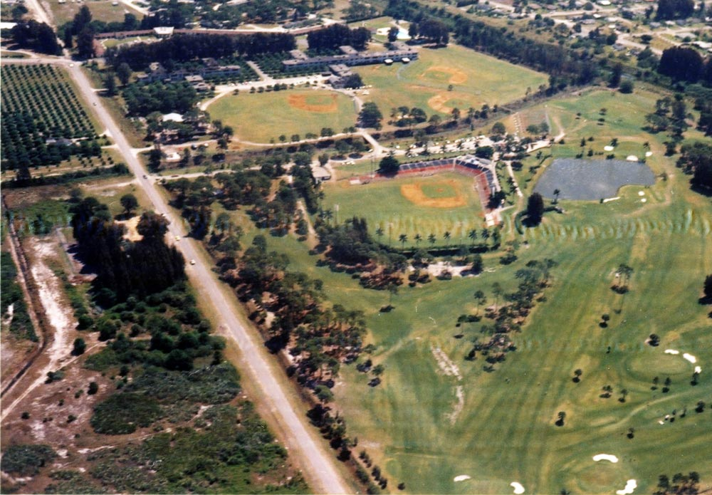 Walter O'Malley continued to break ground in advancing the enjoyment of African-American players at Dodgertown.  In this aerial photo of Historic Dodgertown, the foreground shows part of the nine-hole golf course O'Malley built on the base property so African-American players could have a chance to have recreation after the training day.  Dodgertown Golf Course was the first public golf course in Vero Beach and was open to anyone who wished to play.