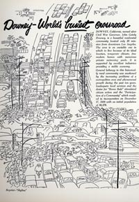 """A whimsical rendering of the busy and family activities that can be found in the city of Downey was part of their printed document to invite the Dodgers to build a baseball stadium in their city. The artist was clever enough to work into the drawing a """"Union 76"""" sign, one of the earliest sponsors of the Dodgers and an important financial supporter of Dodger Stadium."""