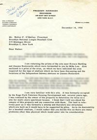 Letter from renowned engineer Capt. Emil Praeger to Walter O'Malley on December 14, 1954 regarding various concerns with land being considered as a site for a new ballpark for the Dodgers in Flushing Meadows, Queens.