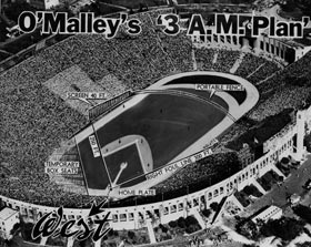 "3 a.m. Plan By installing a removable screen on the north side of the Coliseum, it was possible to configure the football layout into a makeshift baseball field. The ""3 a.m. Plan"" emerges in January 1958 from Walter O'Malley's lack of sleep as he wrestles with options for where the Los Angeles Dodgers would play that year. The baseball diamond was to be shoehorned in the closed end of the Coliseum, giving home plate a north-east orientation. A 42-foot high screen had to be installed because of the short 251 foot left field fence."