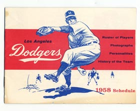 Renowned cartoonist Karl Hubenthal, who created numerous Dodger program and yearbook covers, was the artist on the cover of the Los Angeles Dodger 1958 schedule booklet. The rare mini-book contained biographies of Dodger players, including catcher Roy Campanella, who never played a game in Los Angeles due to his January 28, 1958 automobile accident that paralyzed him from the neck down, but was later inducted into the National Baseball Hall of Fame.
