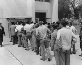 Fans line up at the Dodgers ticket window at the Los Angeles Memorial Coliseum for the first Major League game ever played in Los Angeles on April 18, 1958.