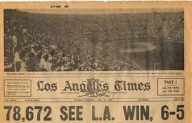 The banner headline in the Los Angeles Times from Saturday, April 19, 1958 shows the record-setting Opening Day crowd of 78,672 fans at the Los Angeles Memorial Coliseum to watch the Dodgers and the San Francisco Giants play and the final score.