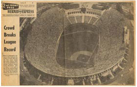 The Los Angeles Herald Express of Saturday, April 19, 1958 shows the record-breaking crowd of 78,672 for the first major league game in Los Angeles between the Dodgers and the San Francisco Giants.