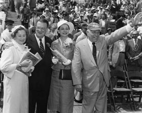 Dodgers' opening day at the Los Angeles Memorial Coliseum on April 18, 1958. Kay and Walter O'Malley with California Gov. Goodwin Knight and his wife Virginia.
