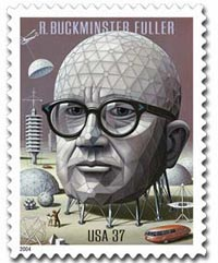 For his expansive body of work, R. Buckminster Fuller received 47 honorary degrees and was awarded 25 U.S. patents. Fuller was honored by the U.S. Postal Service with a postage stamp, which made its debut on July 12, 2004, on the occasion of the 50th Anniversary of his patent for the geodesic dome.