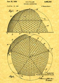 Two views of inventor R. Buckminster Fuller's 1954 patent for the geodesic dome.