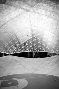 Another view of the large scale dome stadium model, produced by Fuller and his graduate architect students at Princeton University, for the Dodgers in Brooklyn. Miniature players even took their positions on the mock field.