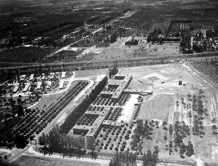 An aerial view of the Dodgertown barracks in Vero Beach, Florida. The integrated barracks and dining room of Dodgertown are located in the buildings toward the center of the photos and Dodgertown Field No. 1 is located just west of the buildings.