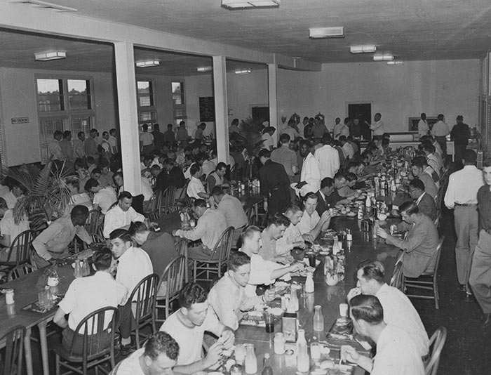 The Dodgertown dining room at the Spring Training base in Vero Beach, Florida. From the first season in 1948, the Dodgertown dining room and their living quarters were desegregated for all players and personnel, an important and vital aspect of Dodgertown.
