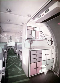 The interior galley of the Lockheed Electra II plane was used by the Dodgers to feed a hungry group of players and staff on their road trips.