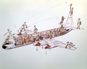A detailed look at the proposed artwork for the table tops used for card games on board the Dodger Lockheed Electra II. The artwork is a cartoon showing the Dodger players in the cabin and on the outside wings and tail of the plane.