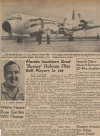 Capt. Bump Holman&#8217;s career as the Dodger pilot is the subject of a newspaper article in <em>The Ledger</em> (Lakeland, Florida) &#8220;Florida Southern Grad &#8216;Bumpy&#8217; Holman Flies Ball Players in Jet.&#8221; A photo of the Dodger Lockheed Electra II accompanies the article which shows Holman shaking hands with Lakeland&#8217;s acting airport manager Don Emerson.