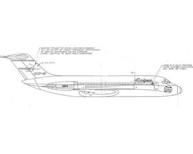 """The original blueprint, sketched in 1965, shows a proposed Douglas DC-9-10 airplane for the Dodgers. Walter O'Malley was considering upgrading to the jet from the Dodger-owned Lockheed Electra II, which he had purchased in 1961. The new aircraft would also have been owned by the Dodgers, but by agreement also used by the Los Angeles Angels, thus both team logos are visible. The Angels were already sharing the Electra with the Dodgers for their road trips. O'Malley had agreed to pay the nearly $7 million price tag for the DC-9 model, but when Douglas officials came back to him and asked him to opt for a newer stretch model DC-9-20 at a considerable price increase, it was a bigger plane than the Dodgers needed and he decided to pass. It was not until 1970 when O'Malley purchased a 720-B Fan Jet that the Dodgers officially moved into the jet age. The 720-B Fan Jet was christened """"Kay O'II"""" in tribute to Kay O'Malley, First Lady of the Dodgers."""